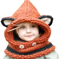 Kids Hat Scarf Set Winter Children Fox Ears Handmade Crochet Knit Hats Cartoon Knitted Baby Beanies