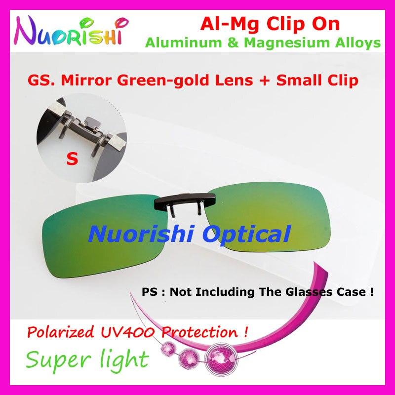 10 шт. сплава al-mg поляризованные Очки очков 7 цветов UV400 линзы клип на для малого и среднего Размеры зажимы cp07 - Цвет линз: GS Mirror Green gold