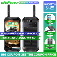 Ulefone Armor 3T 10300mAh IP68/IP69K Waterproof Mobile Phone helio P23 5.7 FHD+ Octa Core 4GB 64GB Walkie Talkie Smartphone