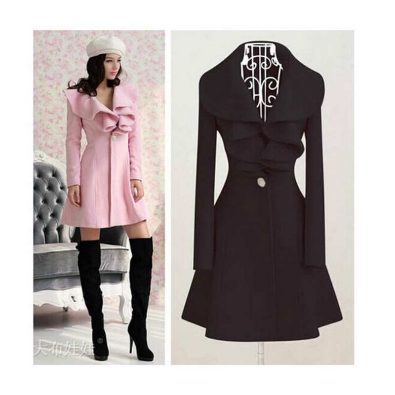 2017 new fashion women autumn winter peacoat cute full sleeve V ...
