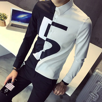 Number Print Male Shirts Contrast Black White Patchwork Color Night Club Prom Blouses Korean Shirt Men Slim Fit Long Sleeve