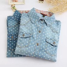 Discount ladies denim shirts in spring and autumn the new decoration long sleeve polka dot Pocket Shirt women's clothing