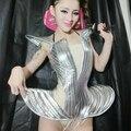Женщины star серебро женское певица ночной клуб бар ds стержень сексуальный star костюм женщины купальник боди