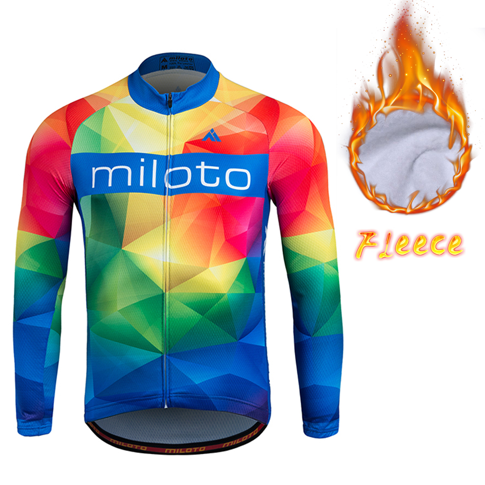 Winter Thermal Fleece Cycling Jersey Team Long Sleeve Cycling Jersey MILOTO Men Bike Jersey Thermal seek thermal