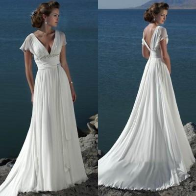 2019 новые модные пляжные свадебные платья из шифона манжета с бисером с коротким рукавом, с вырезом на спине романтичное Vestido V длинное платье