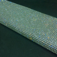 24 40cm Bling White Rhinestone Trim Hotfix Strass Crystal Glass Decor Mesh For Dresses Clothes Jewelry