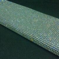 24*40 cm Bling bianco strass Trim Strass Hotfix di Cristallo di Vetro Decor Mesh per Abiti Vestiti scarpe Gioielli iphone artigianato regalo