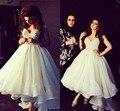 2017 Nueva Caliente Dubai Árabe Elegante Vestidos de Diseñador de Marfil Con Cuentas Alto bajo Sin Mangas Una Línea de vestidos de Fiesta Vestidos de Fiesta Vestido de La Madre