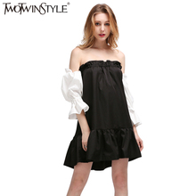 TWOTWINSTYLE 2017 black hit white ruffles sleeve off the shoulder slash collar princess pleated dress women new