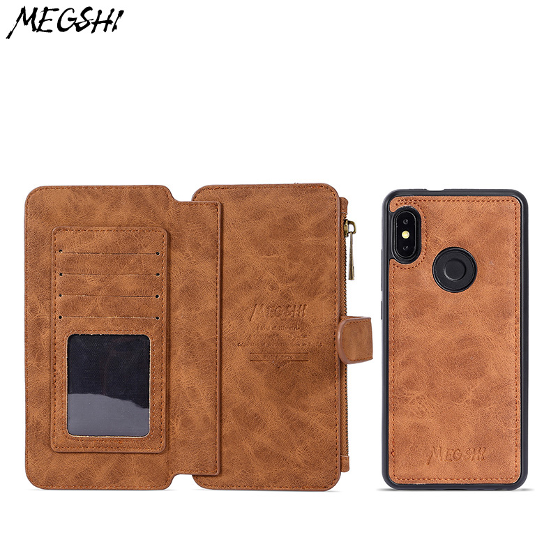 Multifunctional Wallet Case Redmi Note 5 case suction tape holder mobile phone leather seismic anti slide zipper cell phone case