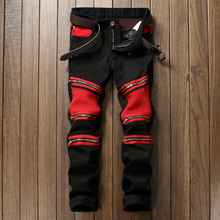 2017 Hot Mens Skinny jeans men Runway slim jeans denim Red Patchwork Black hip hop pants Washed Pleated jeans Hole Trouses #968