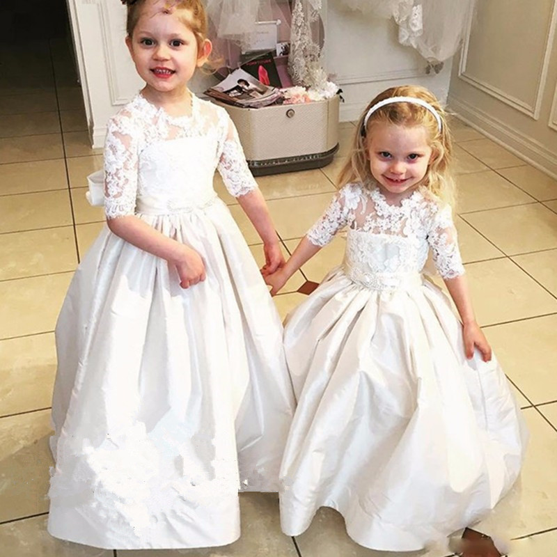 New Arrival Ball Gown Half Long Sleeves Lace Satin Flower Girl Dresses Back Bows Sweep Trains Little Girls Dresses