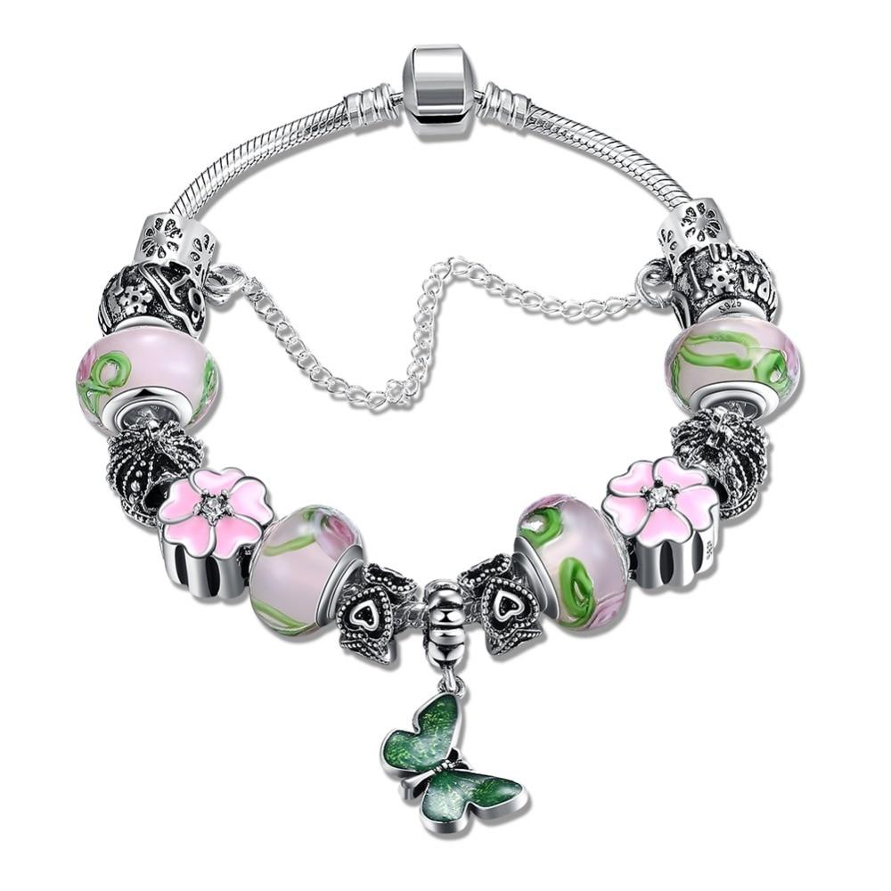 925 Sterling Silver Butterfly Drop Oil Rose Flower Bracelet Stopper Charms Gold Heart Lock Original Pandor Charm Bracelets DIY