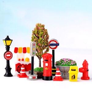 Zocdou 1 peça comida carrinho de sinalização luz rua mailboxe fogo hidrante lata de lixo pequena estátua pequena estatueta artesanato jardim deco