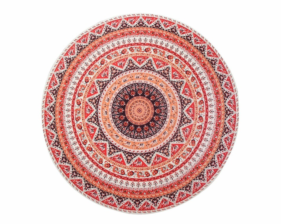 Image 3 - CAMMITEVER Thin Tapestry Beach Towel Beach Big Round Red National Style Bohemia Printed Toalla Playa Serviette de Plage-in Tapestry from Home & Garden