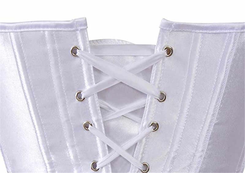 Атласные корсеты и бюстье высшего размера плюс Сексуальное белье готическое корсеты для Женщин Парчи Бурлеск костюмы бодишейпер