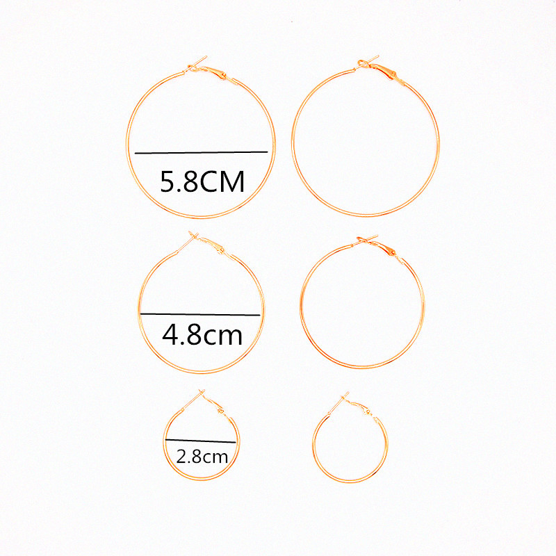 1 set=3 unit gold color round circle earring for women fashion jewelry geometric earring gift for girls high quality e0472