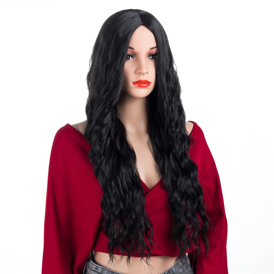 XCCOCO Hair Long Curl Wig Black Synthetic Hair Wig Heat Resistant fiber Curly Wig 22 Inc ...