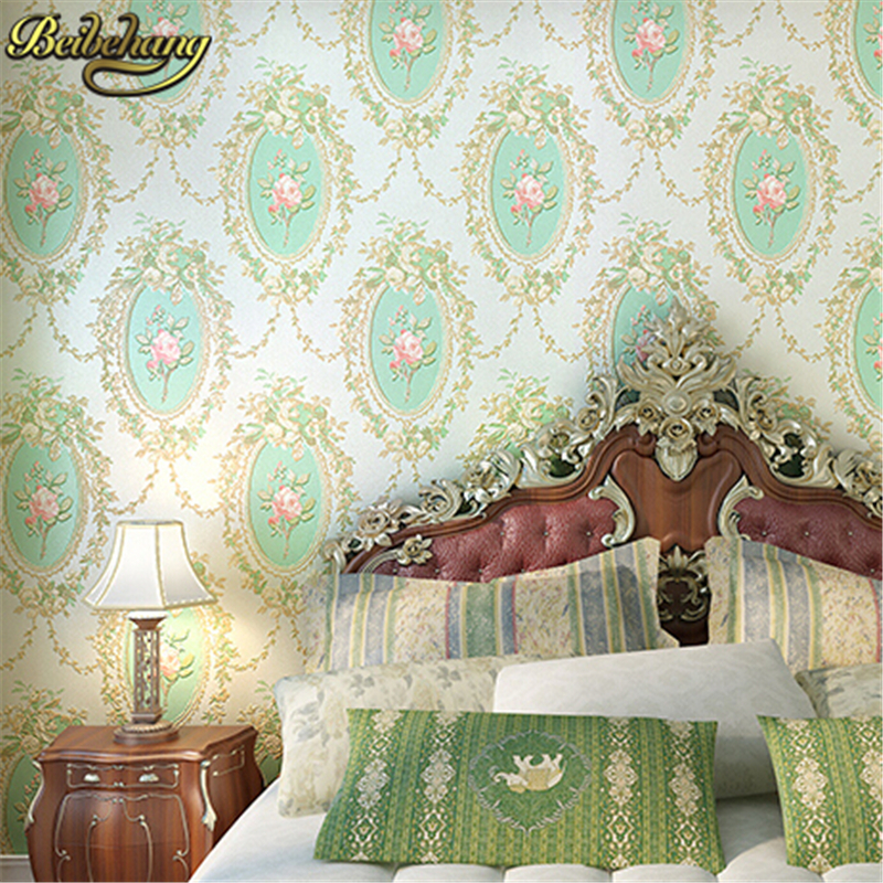 beibehang Home Improvement vintage Mirror Pattern Flocking mural Wallpaper Rolls Traditional Floral Scroll Wall paper for walls