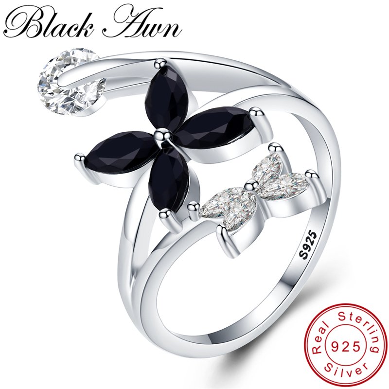 [BLACK AWN] Cute 925 Sterling Silver Jewelry Zircon Flower Elegant Wedding Rings For Women Black Spinel Girl's Finger Ring G055