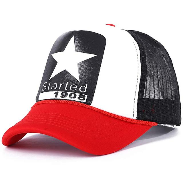new Summer adjustable men's mesh trucker cap star pattern yellow red white in stock 6