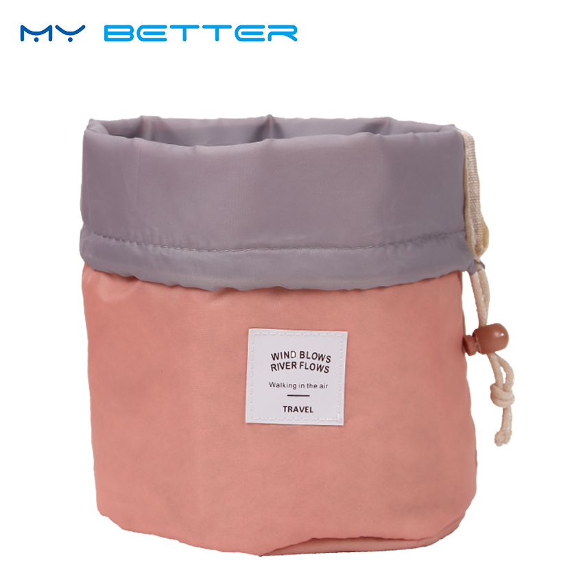 High Quality Barrel Shaped Travel Cosmetic Bag Nylon Wash Bags Makeup Organizer Storage Bag High Capacity iux new arrival barrel shaped travel cosmetic bag nylon high capacity drawstring wash bags makeup organizer storage wholesale