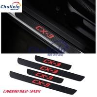 car styling sticker carbon fiber grain 4pcs/lot PU leather door sill decorative cover for 2015 2016 2017 MAZDA CX 3 CX3 CX 3