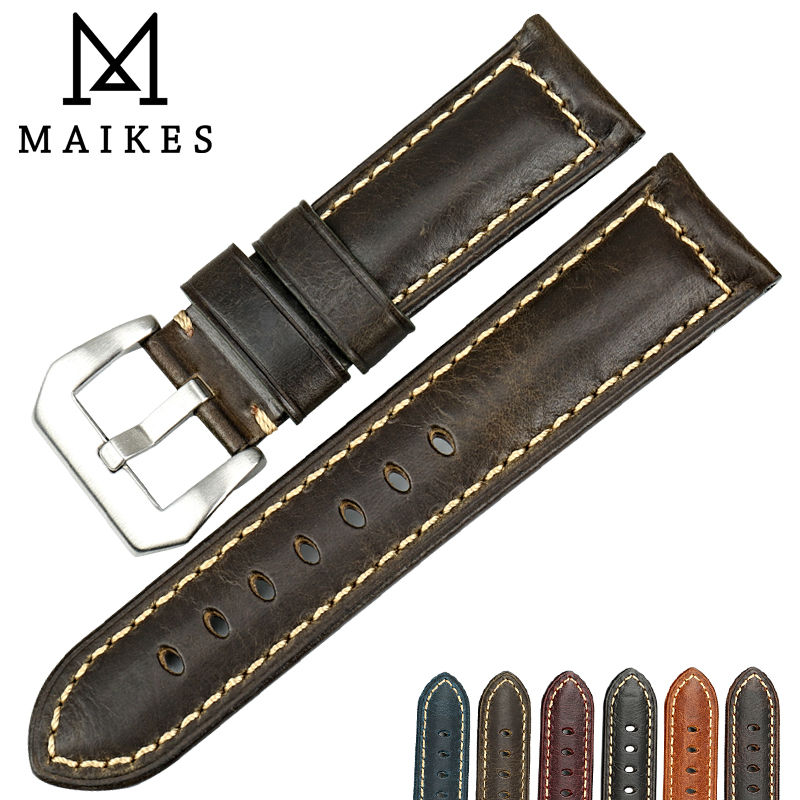 MAIKES Watch accessories 20mm 22mm 24mm 26mm watchbands Italian leather watch strap for Luminox Panerai watch band eache 20mm 22mm 24mm 26mm genuine leather watch band crazy horse leather strap for p watch hand made with black buckles