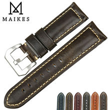 цена на MAIKES Watch accessories 22mm 24mm 26mm watchbands Italian leather watch strap men light green for Luminox watch band
