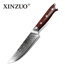 2018 XINZUO 5'' inch Steak Knife Damascus VG10 Steel Kitchen Knives High Quality Cutter Tools Utility Knife with Rosewood Handle(China)