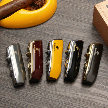 COHIBA Metal Windproof Mini Pocket Cigar Lighter 3 Jet Blue Flame Torch Cigarette Lighters With Cigar Punch Gift Box cohiba cigar lighters gas cigarette lighter 3 torch cigar accessory with gift box