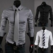 Повседневная мужская рубашка с длинным рукавом сорочка Slim Fit черная рубашка сплошной цвет Мужские рубашки мужская одежда 10 видов цветов Camisa masculina