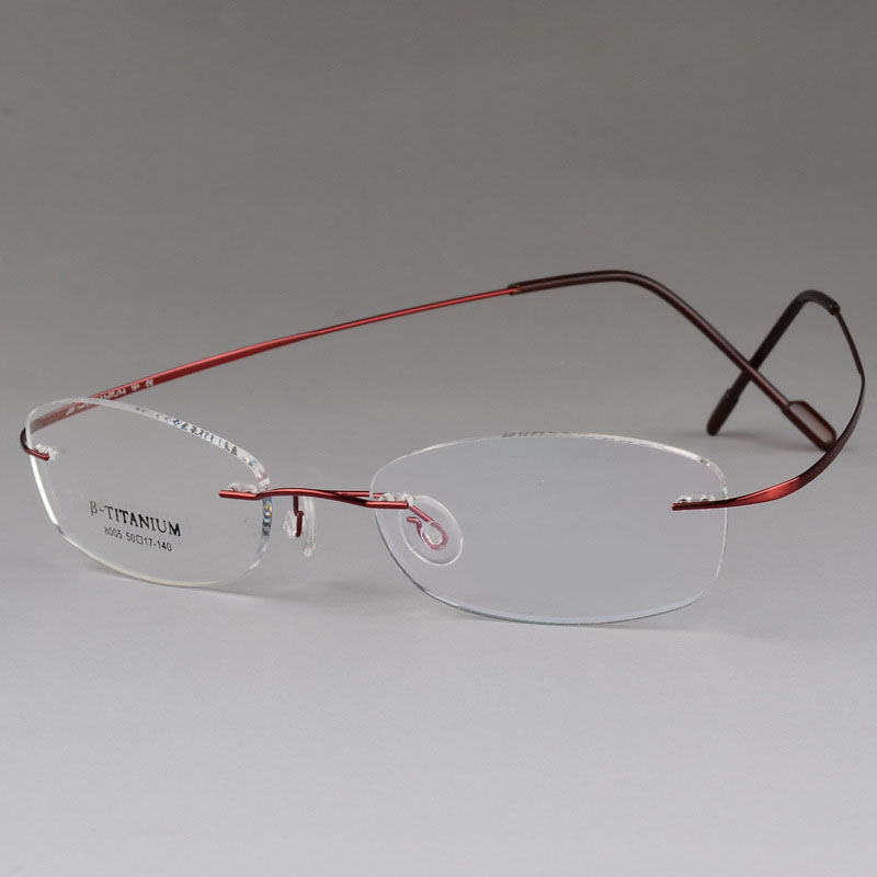 BCLEAR High Quality Pure Titanium Unisex Rimless Optical Frame Memory Thress piece Rimless Glasses for Men and Women Comfortable in Men 39 s Eyewear Frames from Apparel Accessories