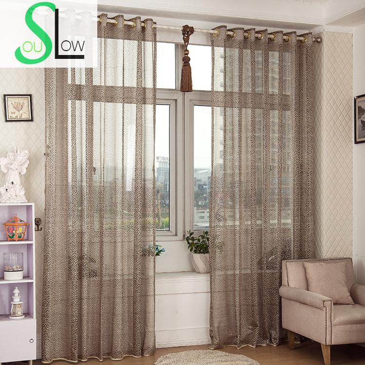 Slow Soul Gray Hollow Light Jacquard Breathable Bedroom Curtain Pleated  Tulle Curtains For Living Room Kitchen