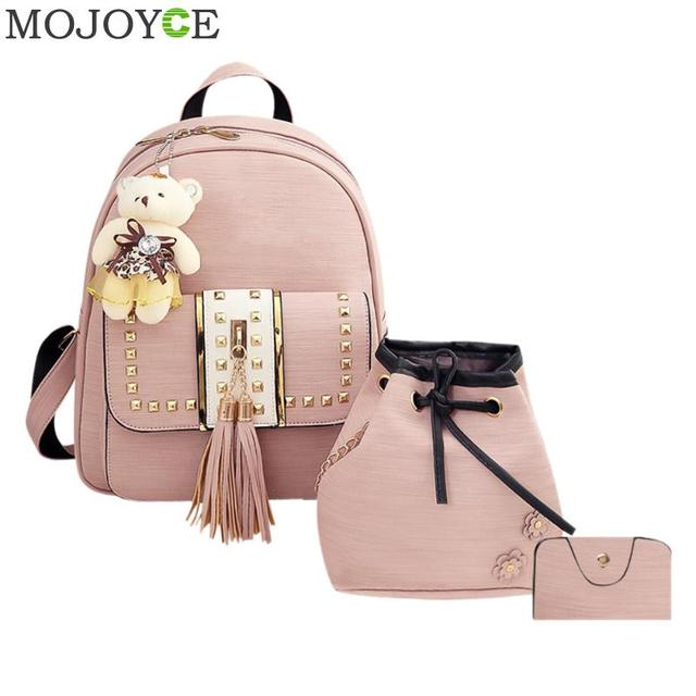 122528cbdcc6 3pcs set Women Backpack PU Leather Backpack for Teenager Girls Shoulder Bag  Student School Bags Tassel Women Backpacks Rucksack