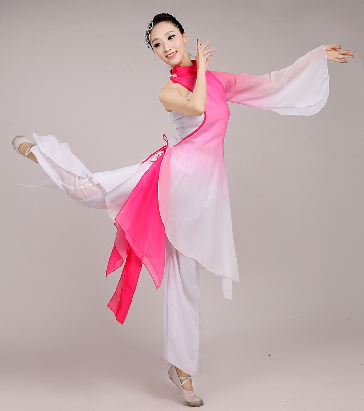 Chinese Classical Dance Costume Female National Clothing Jiangnan Mist Ink Umbrella Yangko Dance Stage Clothing