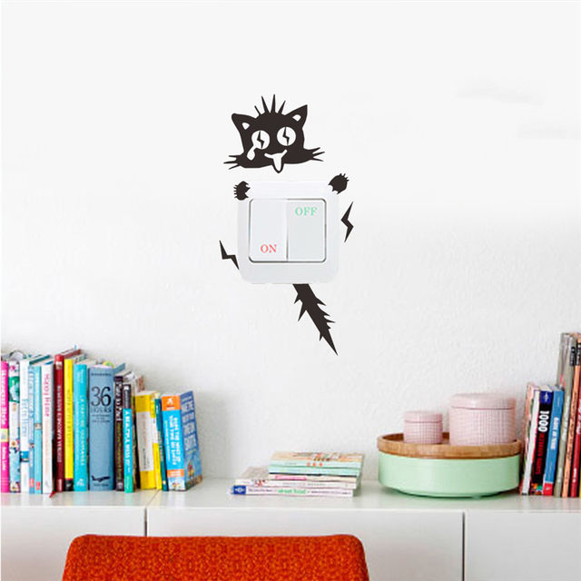 marvelous Cabinet Decals Shop Part - 15: Funny Electric Shock Cat Wall Sticker Switch Kitchen Cabinet Car Door Decals  Glass Stickers Decal Home Decoration