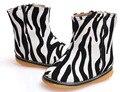 New baby meninas bota PU estampa de Zebra sapatos walker squeakers squeak sapatos para crianças 1-5 anos da criança moda ankle boot zipper