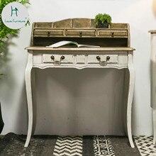 Луи мода французский кантри американский творческий письменный стол мебель твердой древесины белый антикварный ящик тип начальной школы