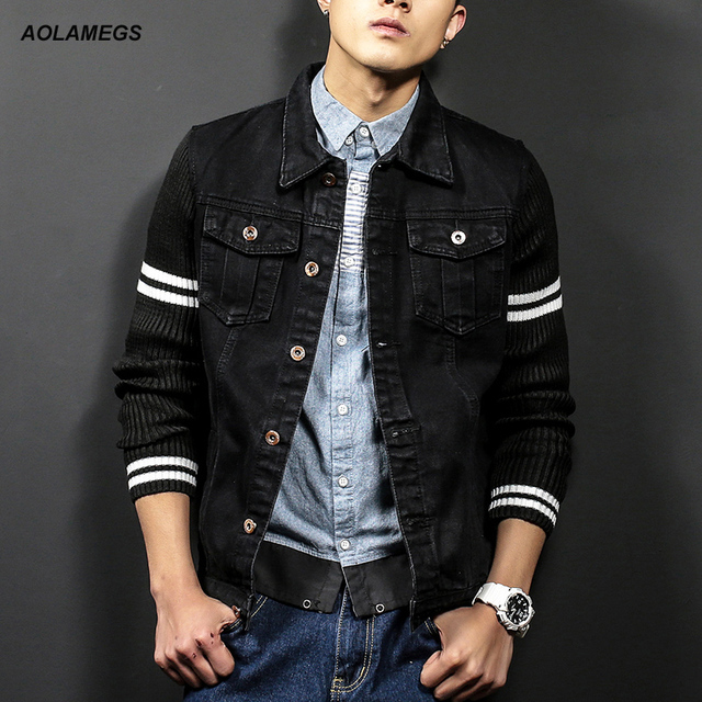 a01de3d1eebb Aolamegs Denim Jacket Men Slim fit Vintage Black Jacket Coat Fashion Street Wear  Jean Jackets 2017 New Outdoors Jeans Clothing