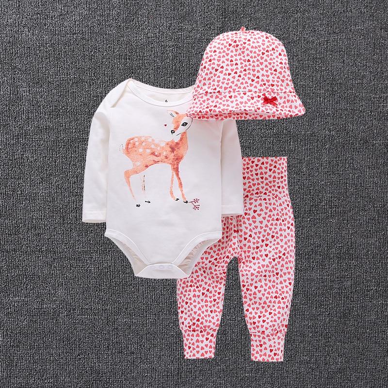 סתיו חורף שלושה חלקים סטים של מדים כותנה עגלונים סיטונאיים כובעי בגדי תינוק ומכנסיים ולטפס