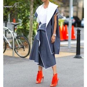 Image 4 - AEL גבוה מותניים טלאי ג ינס חצאית להתנפנף גבירותיי Longuette 2017 Saia Midi קיץ מסלול נשים של בגדי נהיגה לראשונה חצאית כיסא