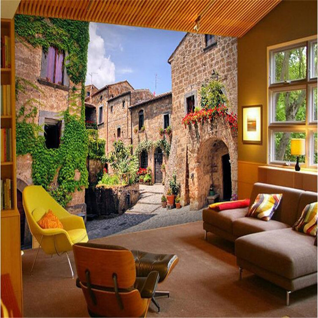 Custom Photo Wall Mural Wallpaper 3d Luxury Quality HD Nostalgic Old House Ancient Streets Travel