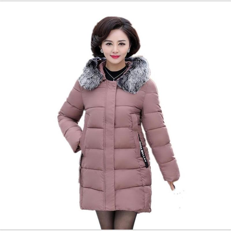 Plus Size 5XL Mid-Age Winter Women Jackets 2018 Hooded Large Fur Collar Women Thicken Warm   Parkas   Wadded Jacket Hot Sale CQ2733