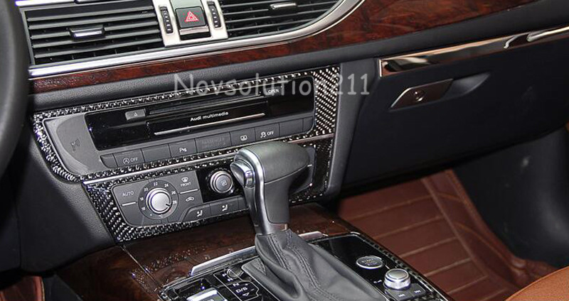 LHD Carbon Fiber Car Styling Interior Center Control Decorative Cover Trim For Audi A6 C7 2012 2013 2014 2015 Accessories 12pc canbus car led light bulbs interior package kit for 2012 2014 audi a6 c7 dome glove box trunk license plate lamp white