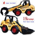 4 pieces Children mini truck car pull back plastic model boy toys excavator road roller forklift clamp kids toys gifts
