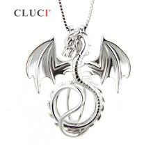 CLUCI Joyería Dragón Jaula Colgante Amuleto de la Suerte Para Las Mujeres de Los Hombres, 925 Collar de Plata Esterlina Colgante