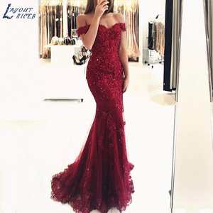 Image 1 - In Stock Formal Lace Mermaid Evening Dresses Sweetheart vestidos de fiesta Off the Shoulder Party robe de soiree Prom Gowns