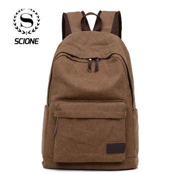Scione mężczyźni jednolite płótno plecaki na co dzień podróży proste rocznika laptopa torby na ramię wysokiej jakości mody rozrywka szkoła Bagpack