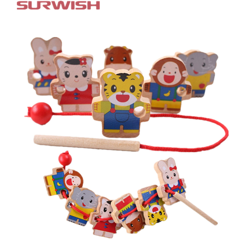 Surwish Free shipping wooden toys 6 Cartoon Animals Wooden Threading Beads Game Education Toy for Baby Kids Children magnetic wooden puzzle toys for children educational wooden toys cartoon animals puzzles table kids games juguetes educativos